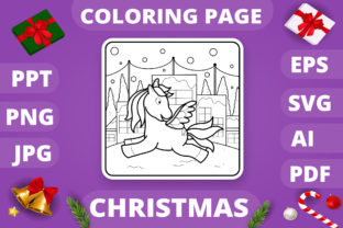 Print on Demand: Christmas Coloring Page for Kids #17 V4 Graphic Coloring Pages & Books Kids By MikeToon Studio