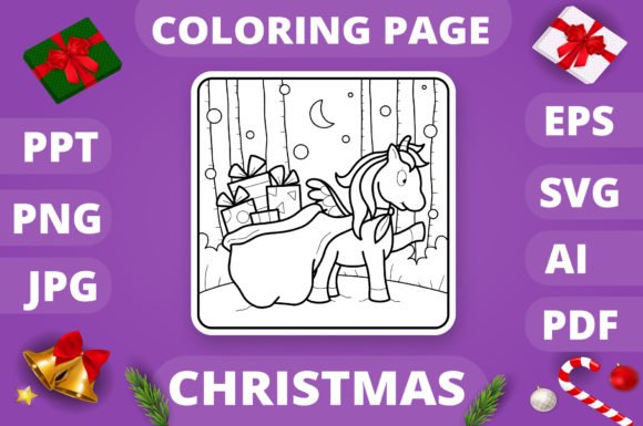 Christmas Coloring Page for Kids #18 V4 Graphic