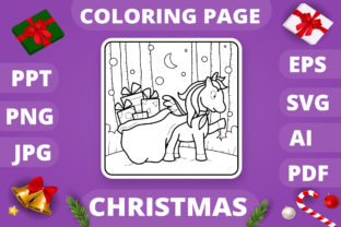 Print on Demand: Christmas Coloring Page for Kids #18 V4 Graphic Coloring Pages & Books Kids By MikeToon Studio