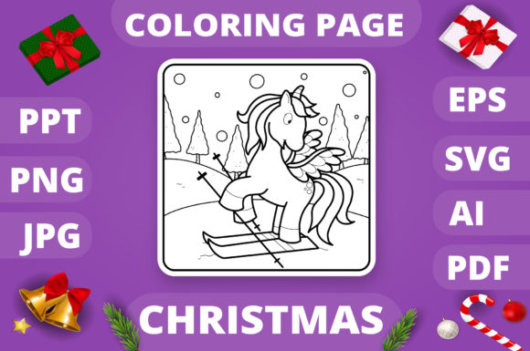 Christmas Coloring Page for Kids #19 V4 Graphic
