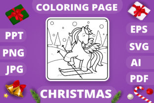 Print on Demand: Christmas Coloring Page for Kids #19 V4 Graphic Coloring Pages & Books Kids By MikeToon Studio