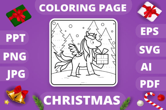 Christmas Coloring Page for Kids #21 V4 Graphic