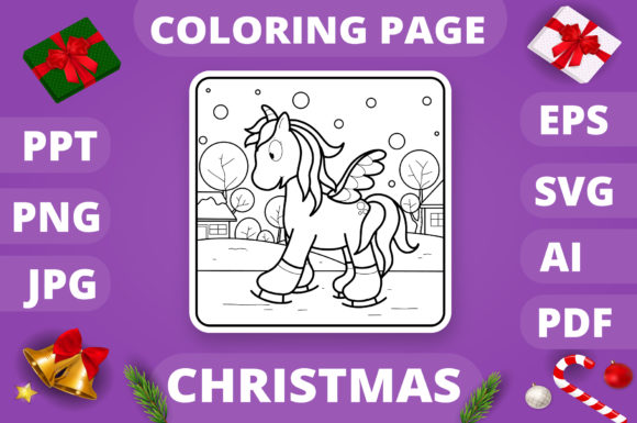 Christmas Coloring Page for Kids #22 V4 Graphic