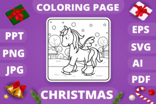 Print on Demand: Christmas Coloring Page for Kids #22 V4 Graphic Coloring Pages & Books Kids By MikeToon Studio