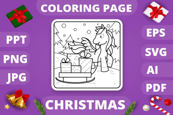 Christmas Coloring Page for Kids #23 V4 Graphic