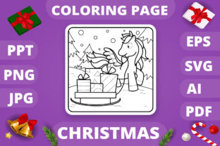 Print on Demand: Christmas Coloring Page for Kids #23 V4 Graphic Coloring Pages & Books Kids By MikeToon Studio