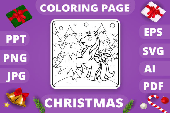 Christmas Coloring Page for Kids #24 V4 Graphic