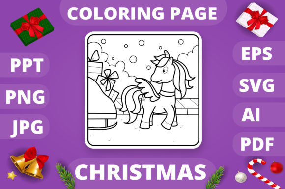 Christmas Coloring Page for Kids #25 V4 Graphic