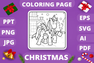 Print on Demand: Christmas Coloring Page for Kids #26 V4 Graphic Coloring Pages & Books Kids By MikeToon Studio