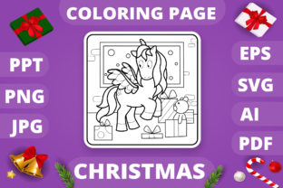 Print on Demand: Christmas Coloring Page for Kids #27 V4 Graphic Coloring Pages & Books Kids By MikeToon Studio