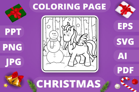Christmas Coloring Page for Kids #28 V4 Graphic