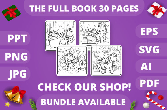 Christmas Coloring Page for Kids #28 V4 Graphic Item