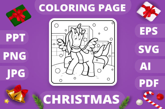 Christmas Coloring Page for Kids #29 V4 Graphic
