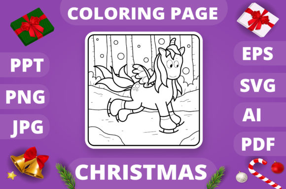 Christmas Coloring Page for Kids #30 V4 Graphic