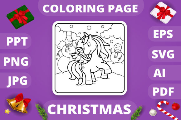 Christmas Coloring Page for Kids #4 V4 Graphic