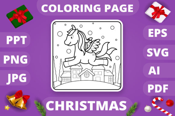 Print on Demand: Christmas Coloring Page for Kids #5 V4 Graphic Coloring Pages & Books Kids By MikeToon Studio