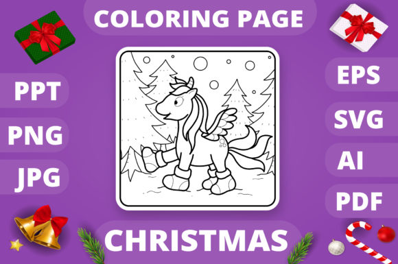 Christmas Coloring Page for Kids #6 V4 Graphic