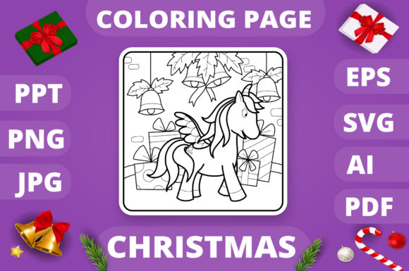 Christmas Coloring Page for Kids #7 V4 Graphic