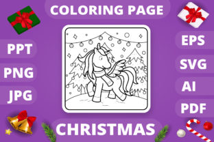 Print on Demand: Christmas Coloring Page for Kids #8 V4 Graphic Coloring Pages & Books Kids By MikeToon Studio