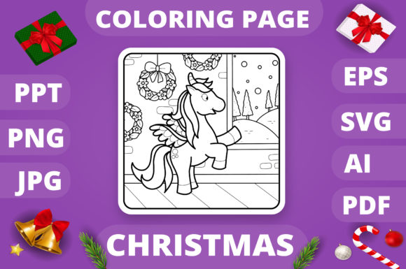 Christmas Coloring Page for Kids #9 V4 Graphic