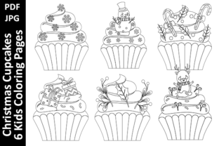 Christmas Cupcakes - 6 Coloring Pages Graphic Coloring Pages & Books Kids By Oxyp