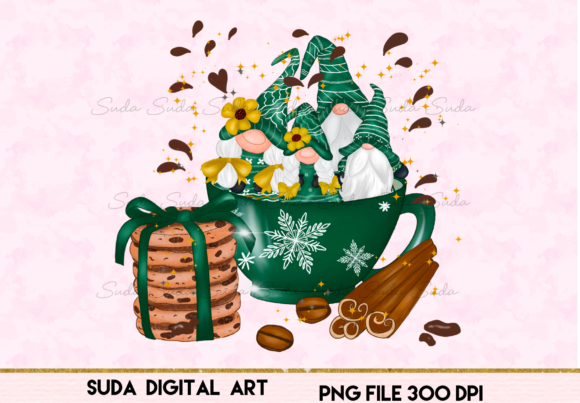 Print on Demand: Christmas Green Mug Gnomes Sublimation Graphic Illustrations By Suda Digital Art