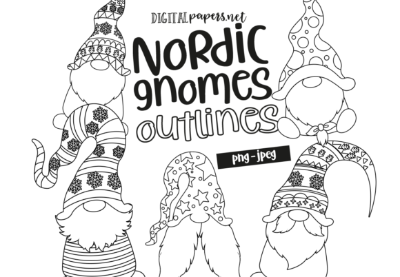 Print on Demand: Christmas Nordic Gnomes Outlines Graphic Illustrations By DigitalPapers
