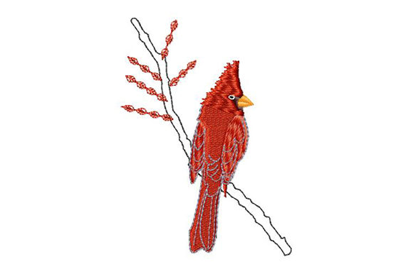 Print on Demand: Christmas Red Cardinal Birds Embroidery Design By EmbArt