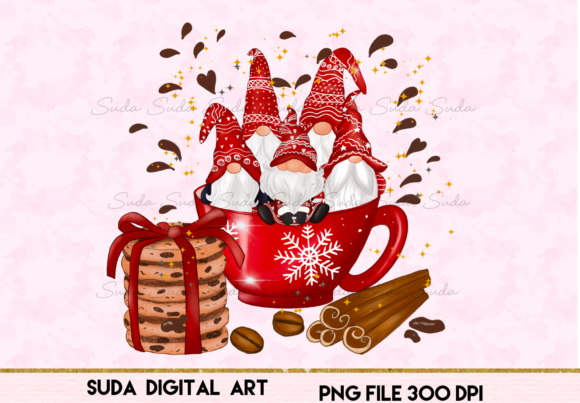 Print on Demand: Christmas Red Mug Gnomes Sublimation Graphic Illustrations By Suda Digital Art