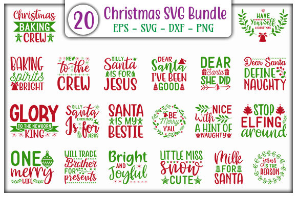 Print on Demand: Christmas SVG Design Bundle Graphic Print Templates By GraphicsBooth