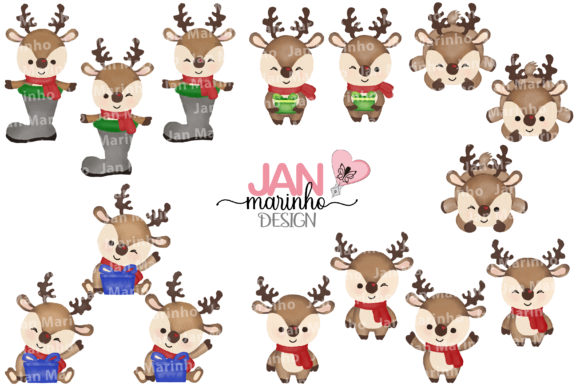 Christmas of Loving Watercolor Clipart Graphic Illustrations By JanMarinhoDesign