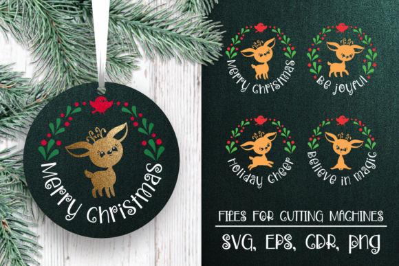 Print on Demand: Christmas Ornaments SVG with Cute Deer Graphic Crafts By Olga Belova