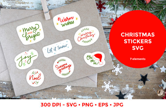 Christmas Stickers   Lettering Quote SVG Cut Files