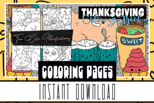 Cute Thanksgiving Coloring Book 10 Page Graphic Coloring Pages & Books Kids By Rabbit Art