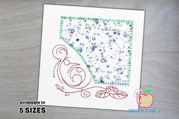 Decorative Floral Art with Frame Borders Embroidery Design By embroiderydesigns101