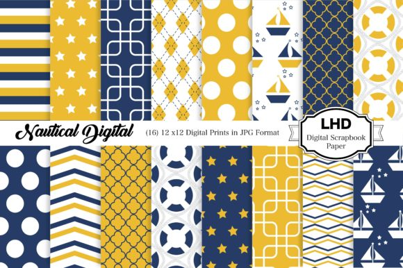 Digital Paper Nautical Blue & Yellow Graphic Patterns By LeskaHamatyDesign