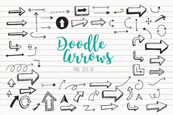 Doodle Arrows Clipart Vector Graphic Illustrations By peachycottoncandy