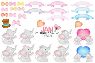 Elephants Watercolor Clipart Graphic Illustrations By JanMarinhoDesign