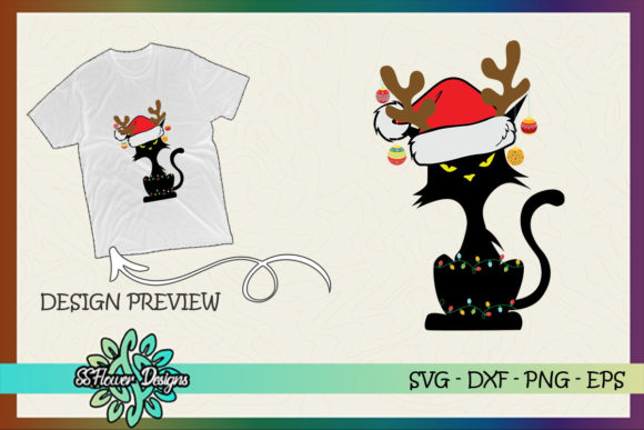 Funny Cat Christmas Light Reindeer Ball Graphic Print Templates By ssflower