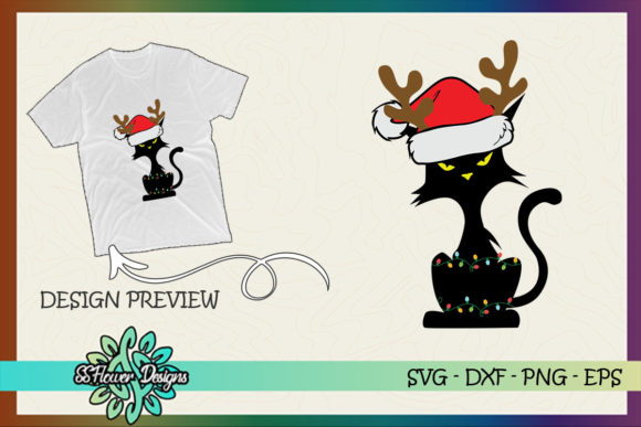 Funny Cat Christmas Light Reindeer Graphic Print Templates By ssflower