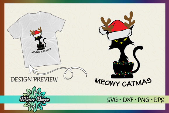 Funny Cat Reindeer Meowy Christmas Light Graphic Print Templates By ssflower