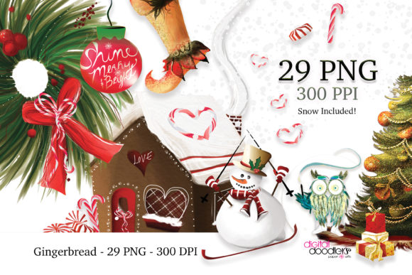 Print on Demand: Gingerbread Christmas Graphics Graphic Illustrations By Digital Doodlers