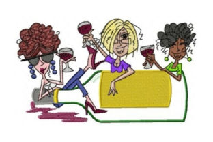Girlfriends Wine Wine & Drinks Embroidery Design By Sew Terific Designs