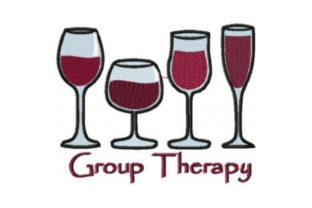 Group Therapy Wine & Drinks Embroidery Design By Sew Terific Designs