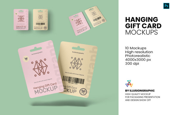 Hanging Gift Card Mock-up - 10 Views Graphic Product Mockups By illusiongraphicdesign