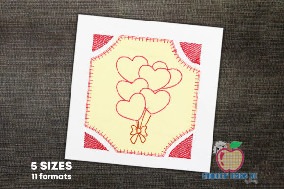 Heart Shape Balloons with Bow Applique Birthdays Embroidery Design By embroiderydesigns101