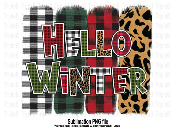 Print on Demand: Hello Winter Buffalo Plaid Sublimation Graphic Crafts By TripleBcraft