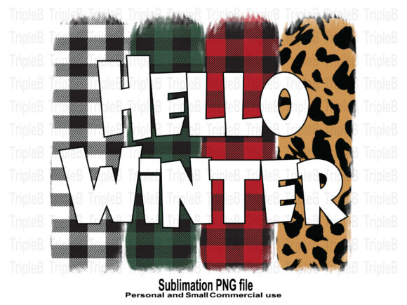 Print on Demand: Hello Winter Plaid Sublimation Designs Graphic Crafts By TripleBcraft
