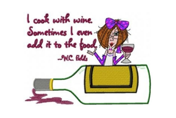I Cook with Wine Wine & Drinks Embroidery Design By Sew Terific Designs