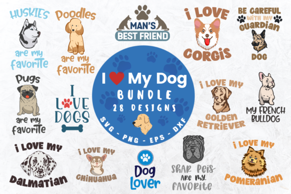 I Love My Dog Bundle Graphic Crafts By Graphipedia